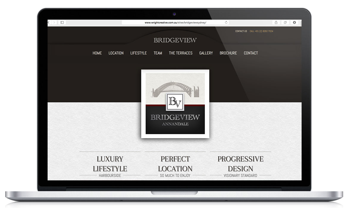 Home page with Branding: Bridgeview Sydney Responsive Designed Website