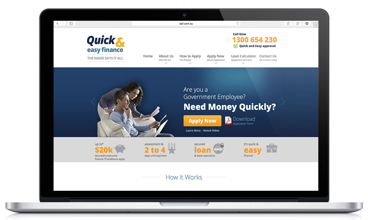 Quick and Easy Finance branding and interactive, responsive designed website.
