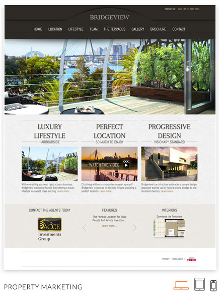 Custom design websites by Webmatic: Bridgeview apartments Desktop view