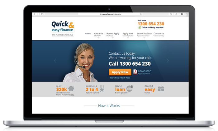 Custom Web design by Webmatic Sydney web design agency for Qef Quick and Easy Finance