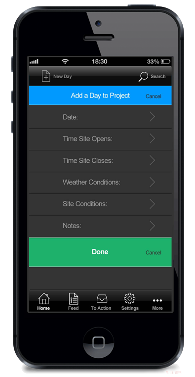 Custom designed app for AWC Concepts, SiteDiary